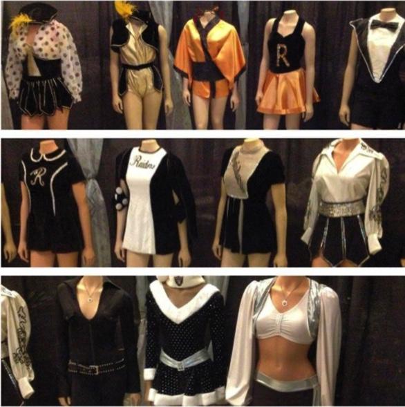 different uniforms for Las Vegas raiders cheerleaders over 60 years